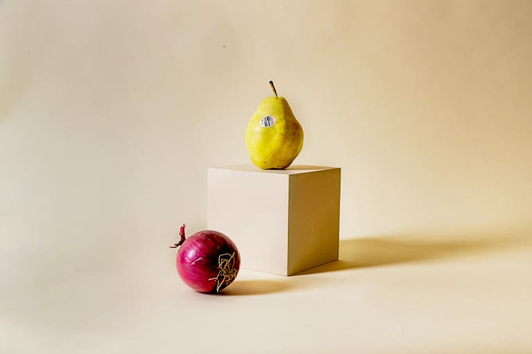 a pear and an onion