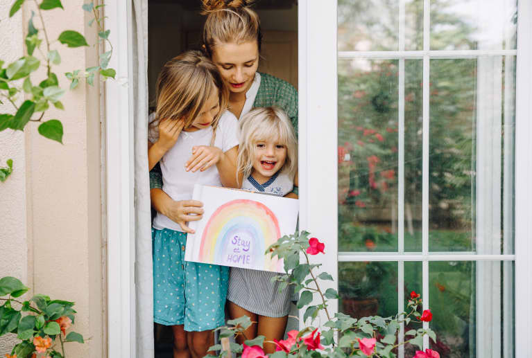Mother With Daughters Staying At Home