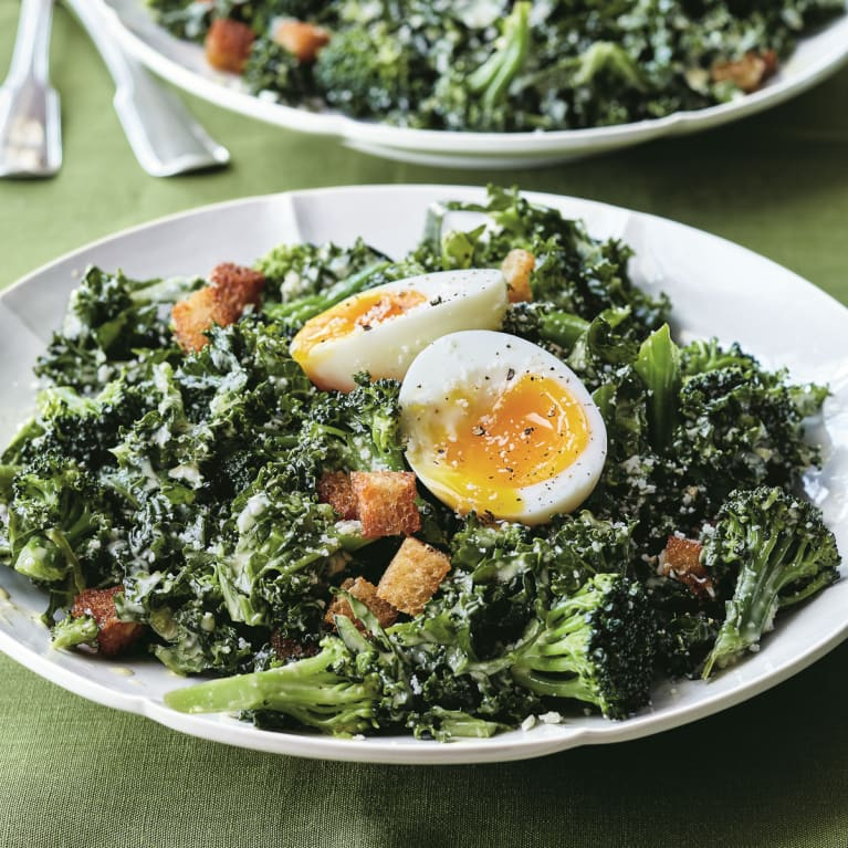 Kale and Broccoli Caesar Salad