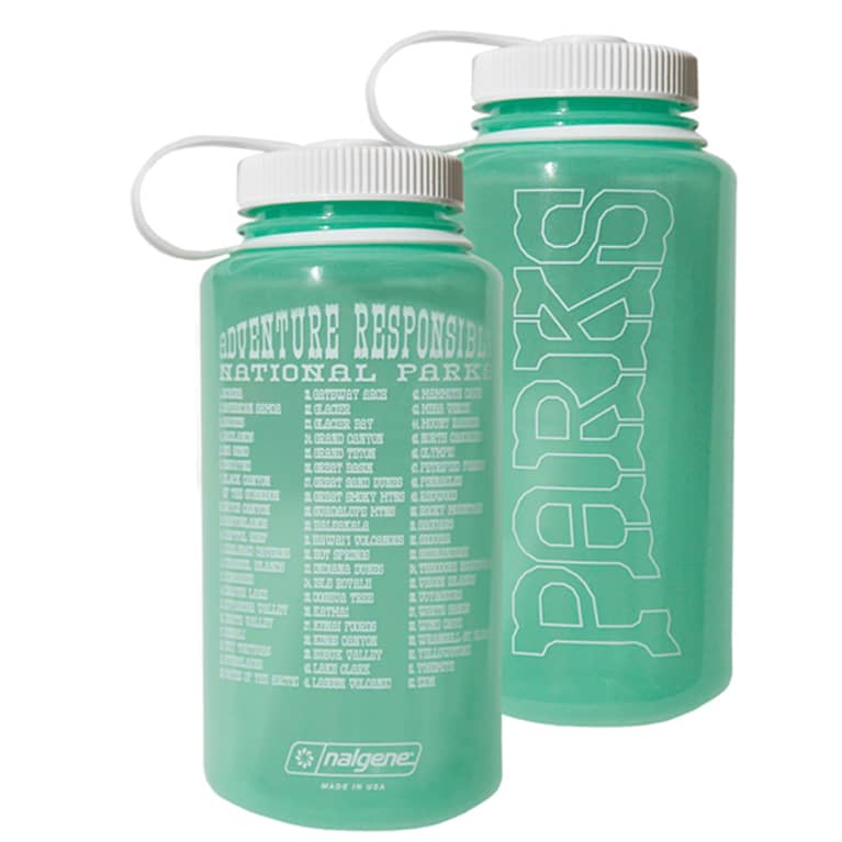 plastic water bottle in light green with white writing and lid