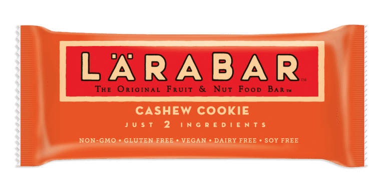 Orange fruit and nut bar packaging with words Larabar written on the front, cashew cookie flavored.