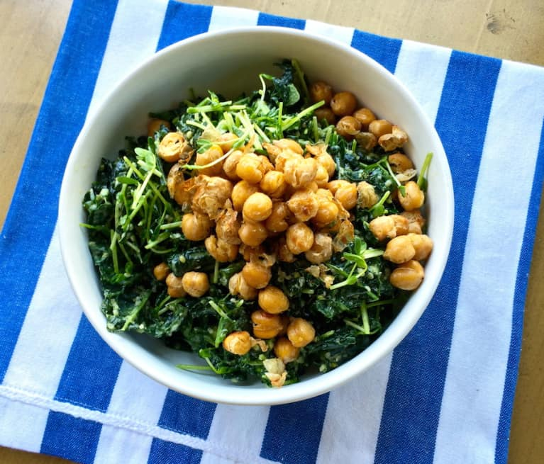 Vegan Kale Caesar With Salt + Vinegar Chickpea Croutons