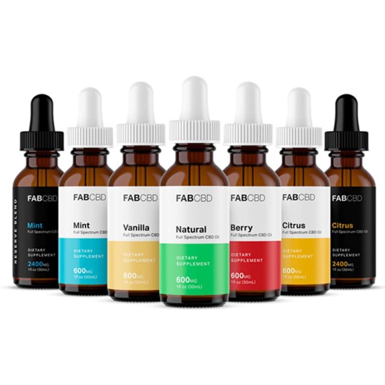 an array of CBD dropper bottles in different colors