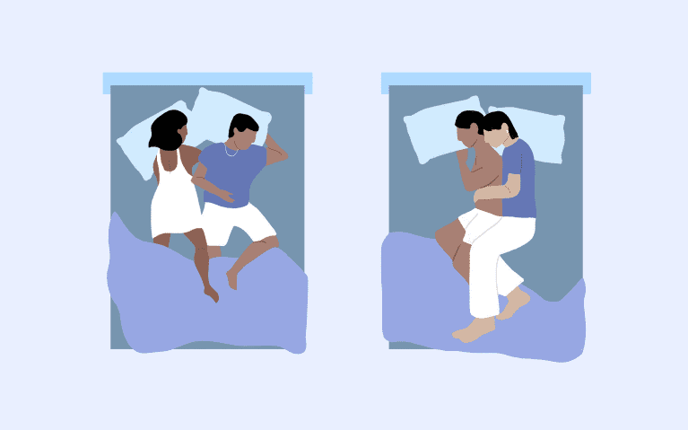 Illustration of couple sleeping positions.