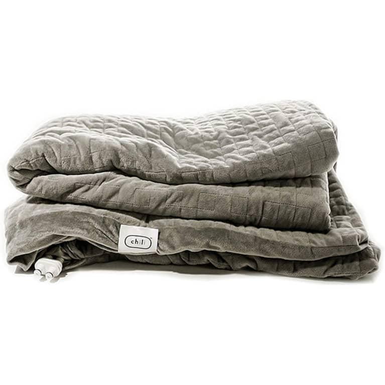 Plush grey weighted blanket, folded.