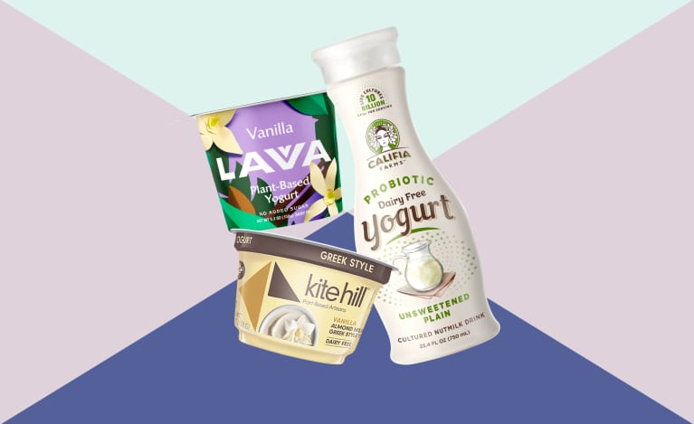 collage of plant based yogurts available in spring 2019