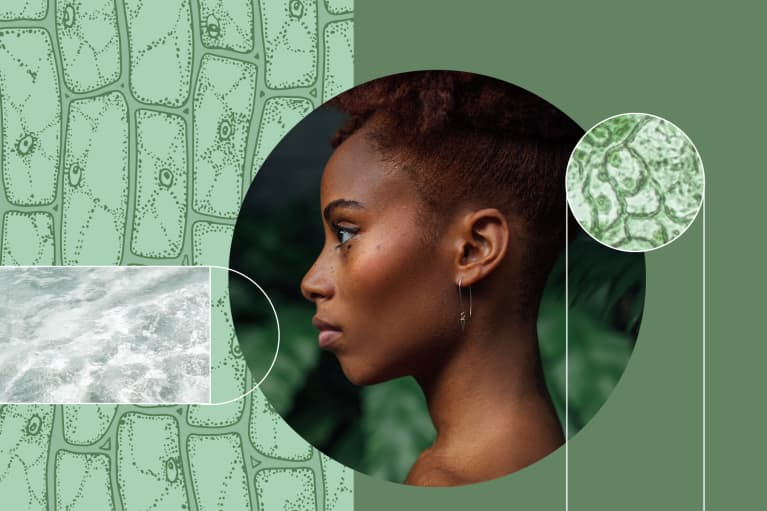 Young black woman, skin layers, hydration and cells