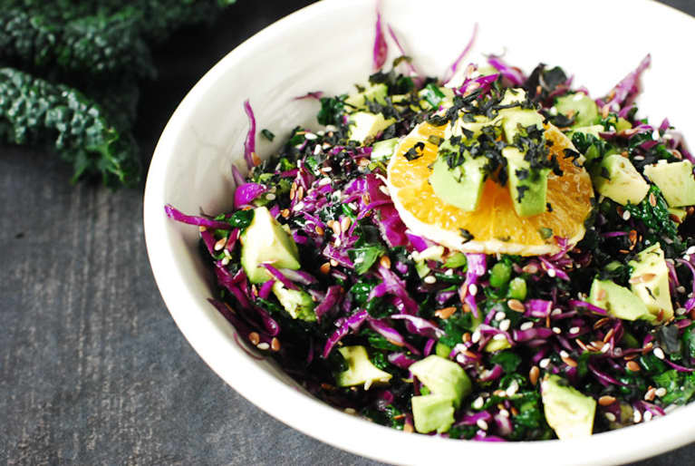 Wakame, Kale & Avocado Salad With Orange Dressing