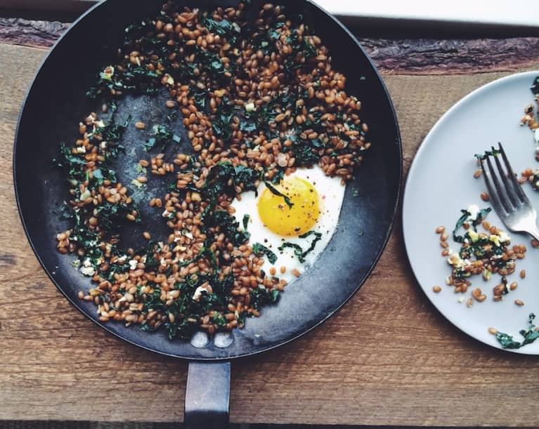 A Better Breakfast: Wheat Berries With Greens & Eggs