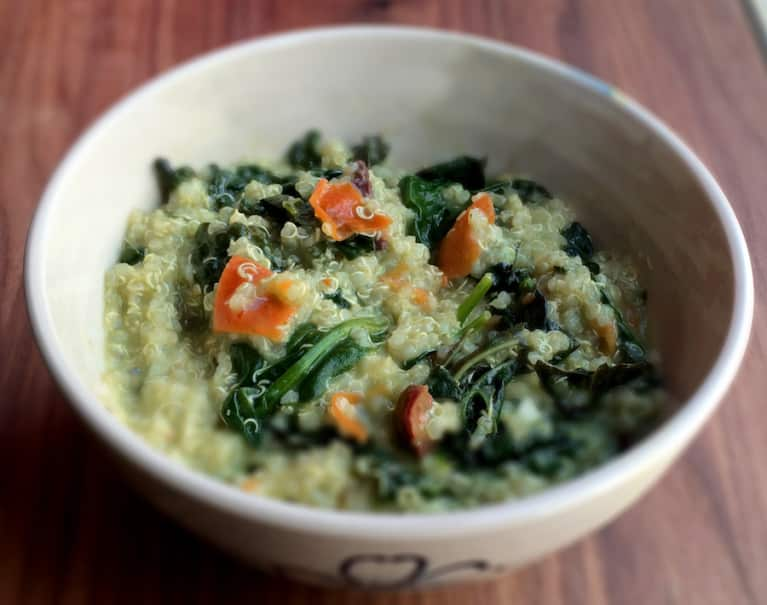 Wilted Kale & Quinoa Salad With Avocado Basil Dressing