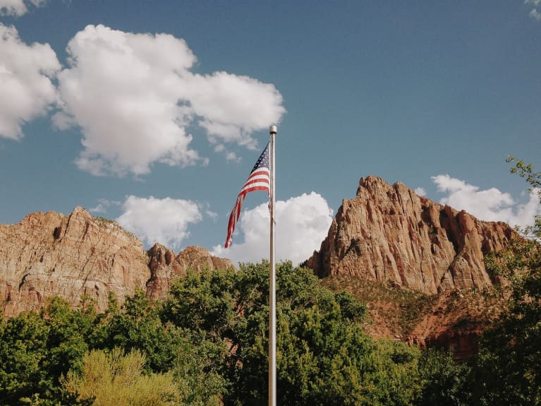 American Flag In A National Park On A Beautiful Day
