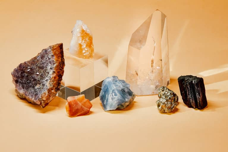 A Collection of Crystals - Amethyst, Citrine, Clear Quartz, Celestite, Black Tourmaline