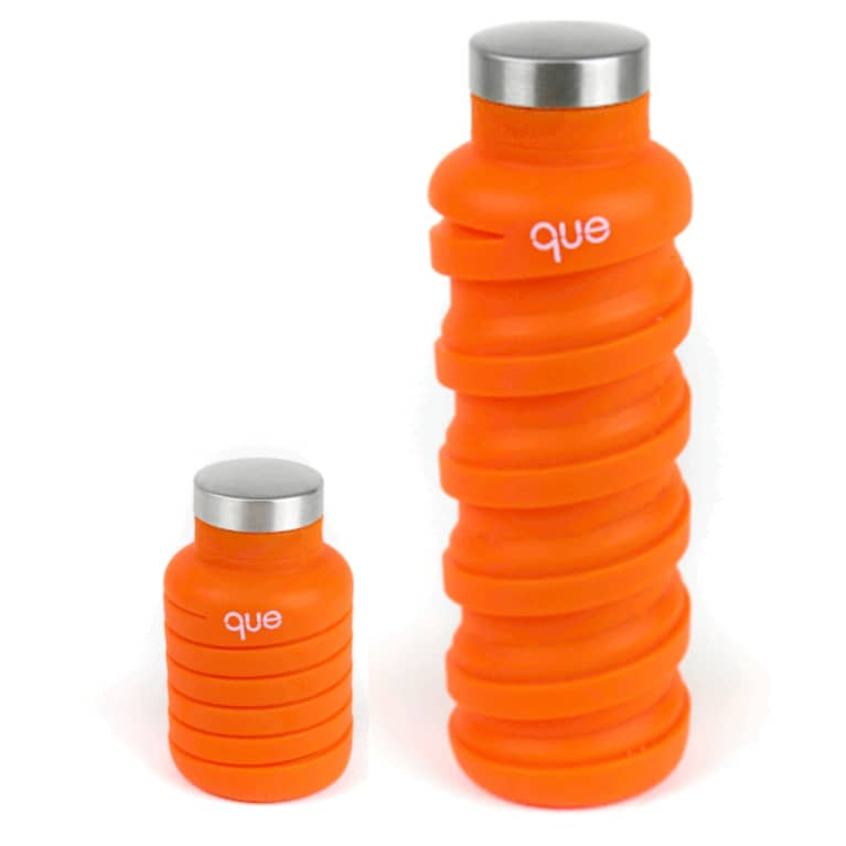 collapsable water bottle in bright orange color