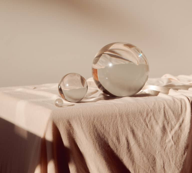 Crystal Balls on a fabric background