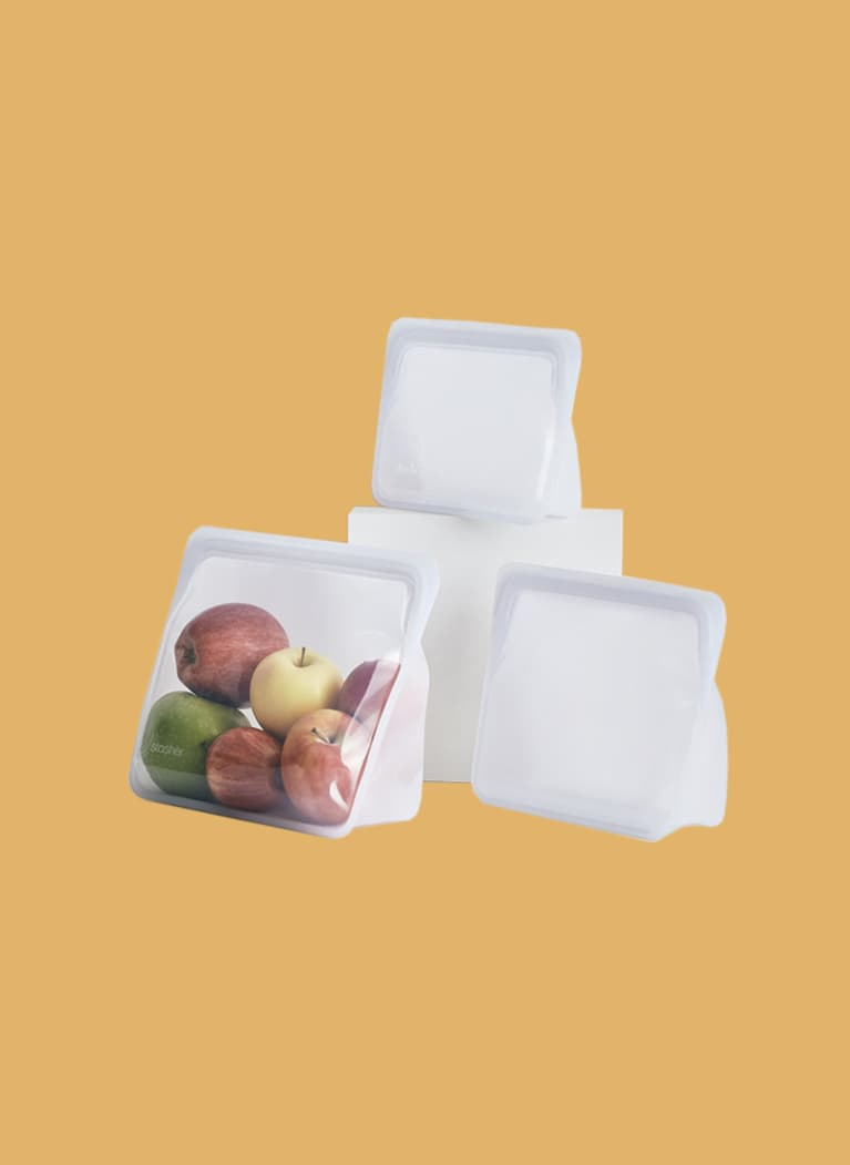 Stasher stand up silicone bags filled with apples