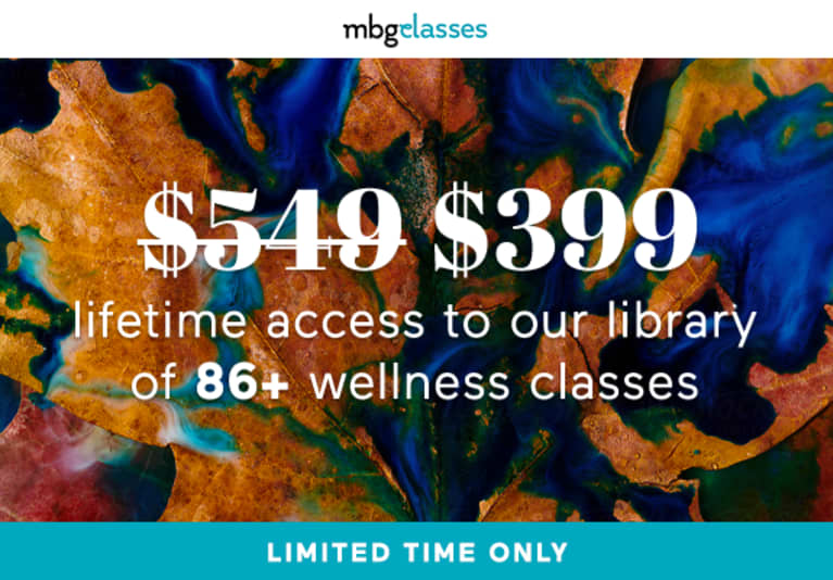 Abstract background with $399 deal for mbg's library of 86+ wellness classess