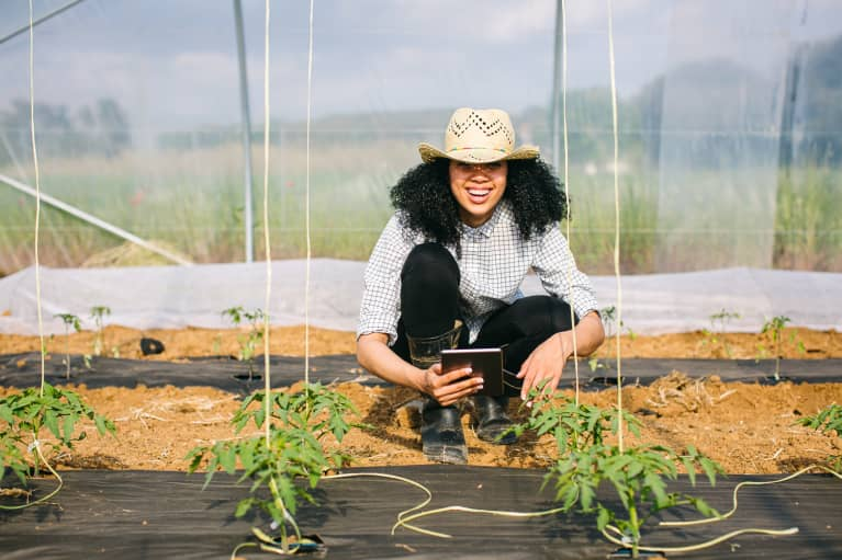 Female Botanist with a Digital Tablet