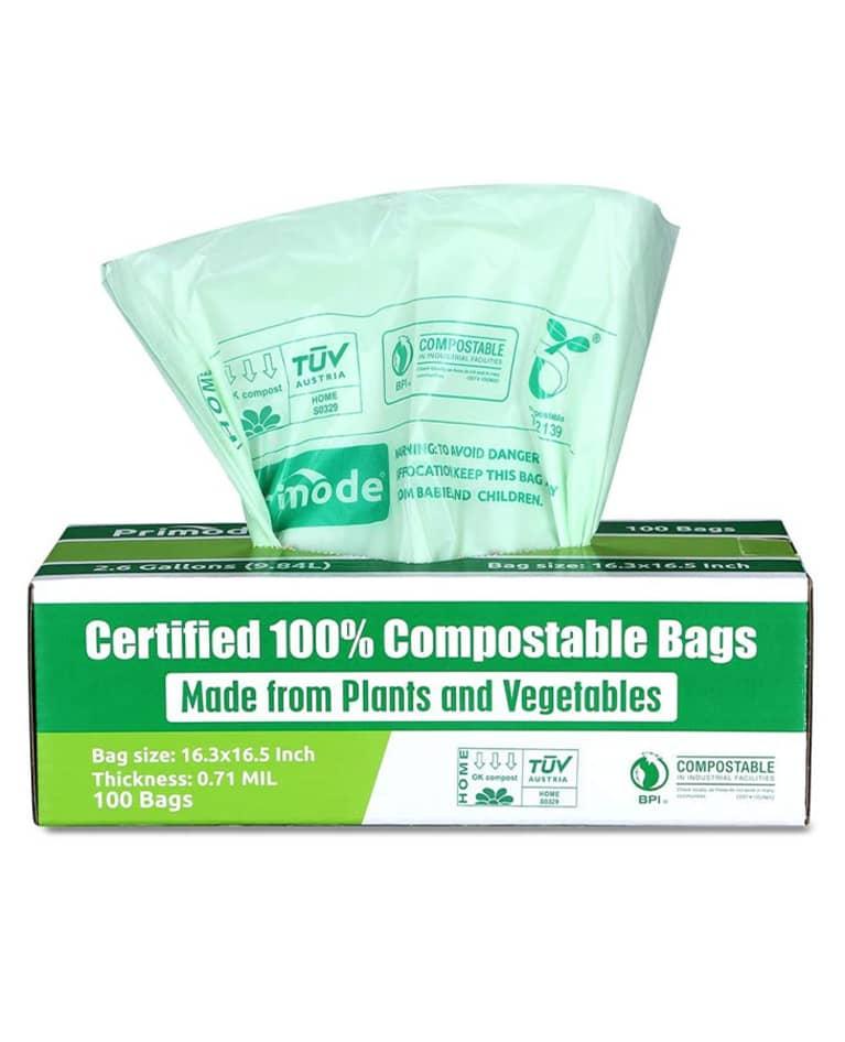 compostable green trash bag in green box