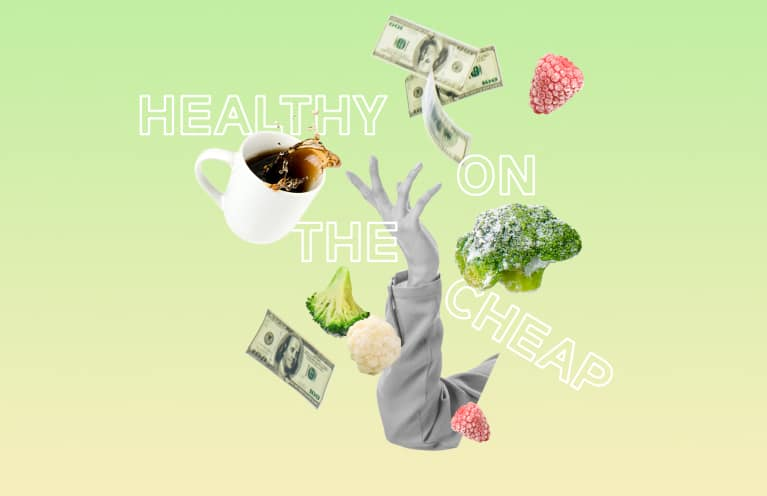 collage on saving money while eating healthy