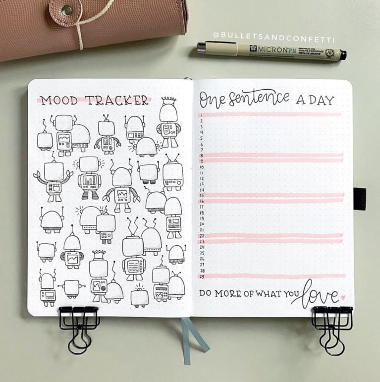 bullet journal with daily tracker spread