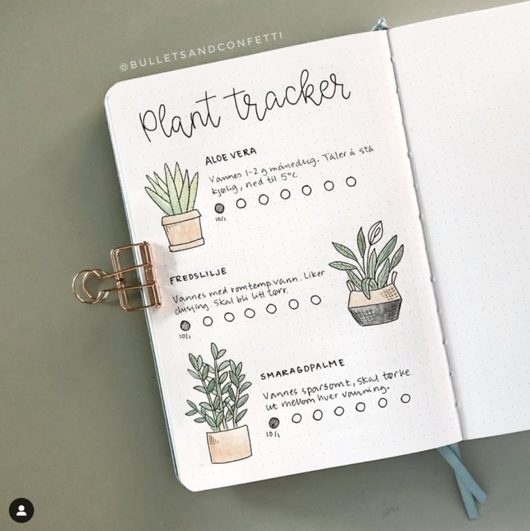 bullet journal with plant tracker page