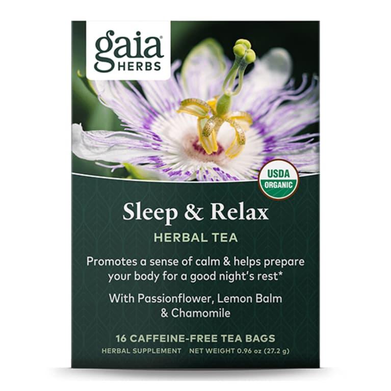 dark green box of tea with purple flower on the label