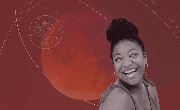 woman smiling with full moon in aquarius background