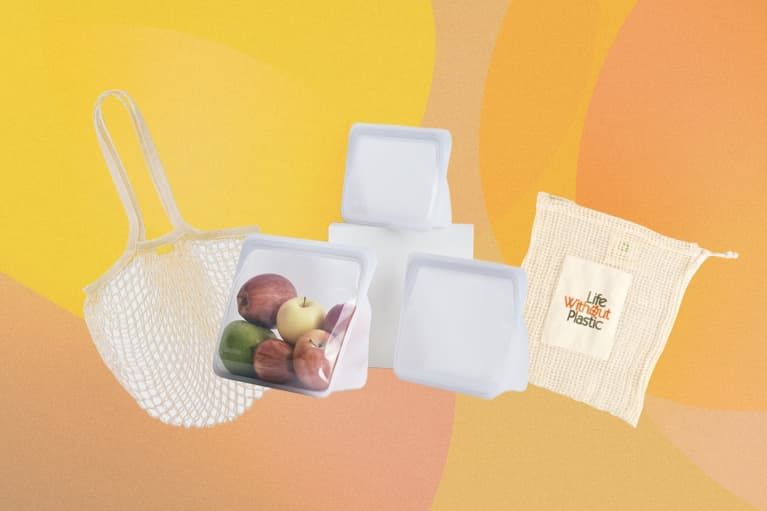 four types of reusable produce bags overlaid on orange background