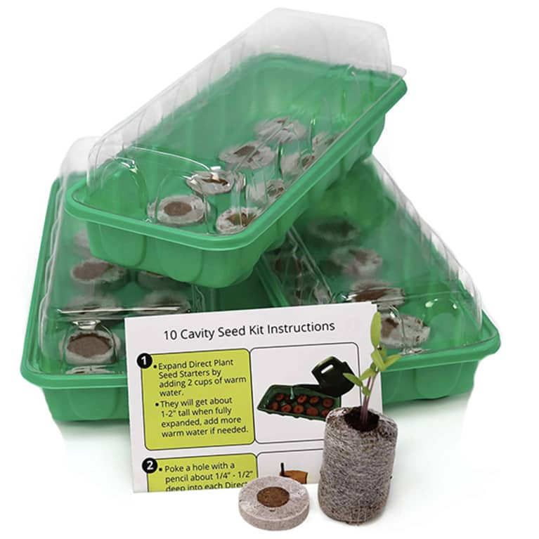 green seed starter kits with clear cover